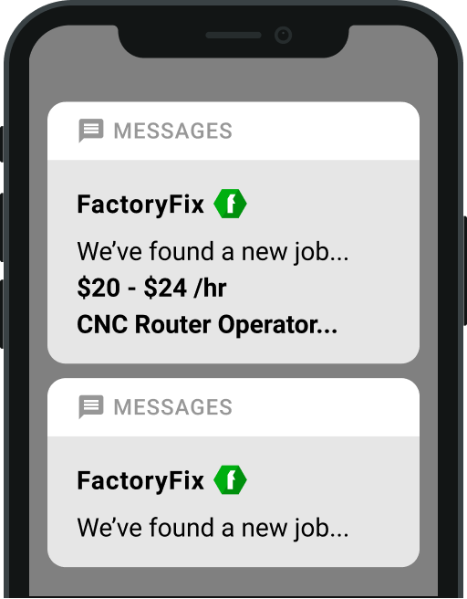 FactoryFix sample CNC Router Operator job alert text.