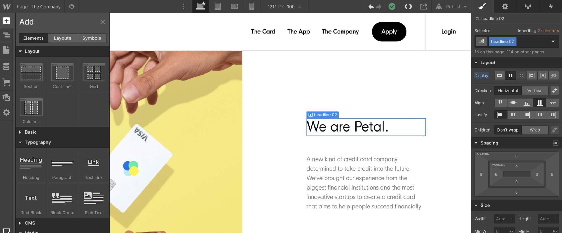 The Webflow Designer visual web development tool