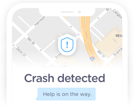 Crash detection alert on a phone with message that help is on the way