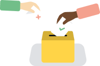Two people putting votes in an urn , one is positive and the other is negative