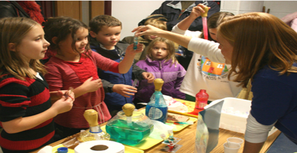 Teacher showing students some models