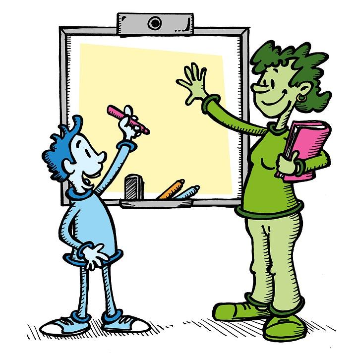 illustration of teacher explaining to a student