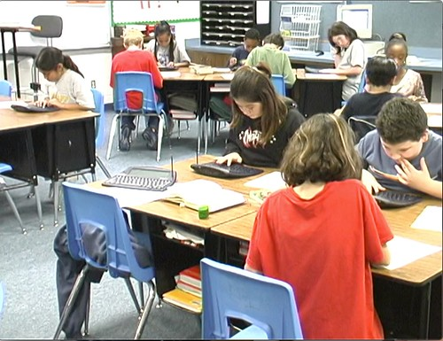 students working in a classroom