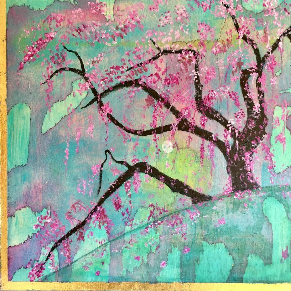 "Cherry Blossom<br>12"" x 12"", Acrylic, pastel on Wood"