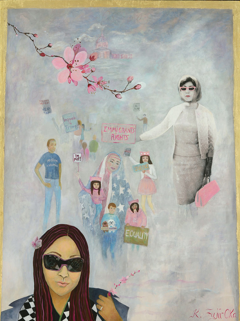 """My Mother, My Daughter<br>48"""" x 36"""", Acrylic, Collage, 22ct. Gold Leaf on Wood"""