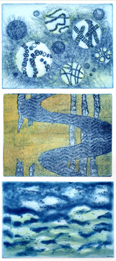 """""""Water Life I,"""" etching with watercolor, 16""""h x 6""""w"""