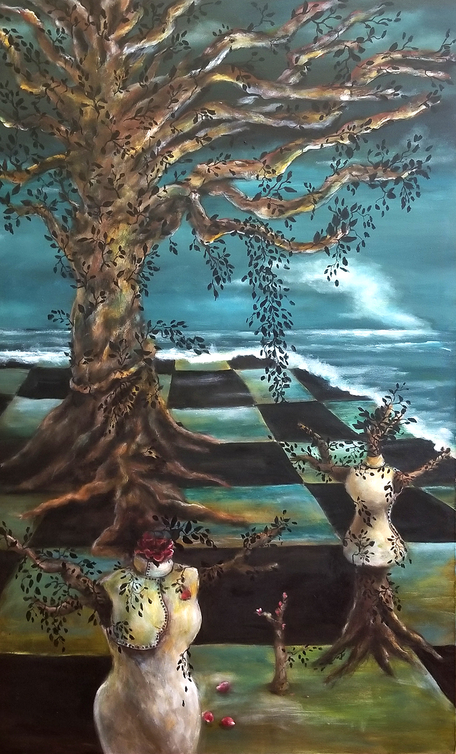 A PLACE OF HER OWN  2 acrylic on canvas 48 x 24