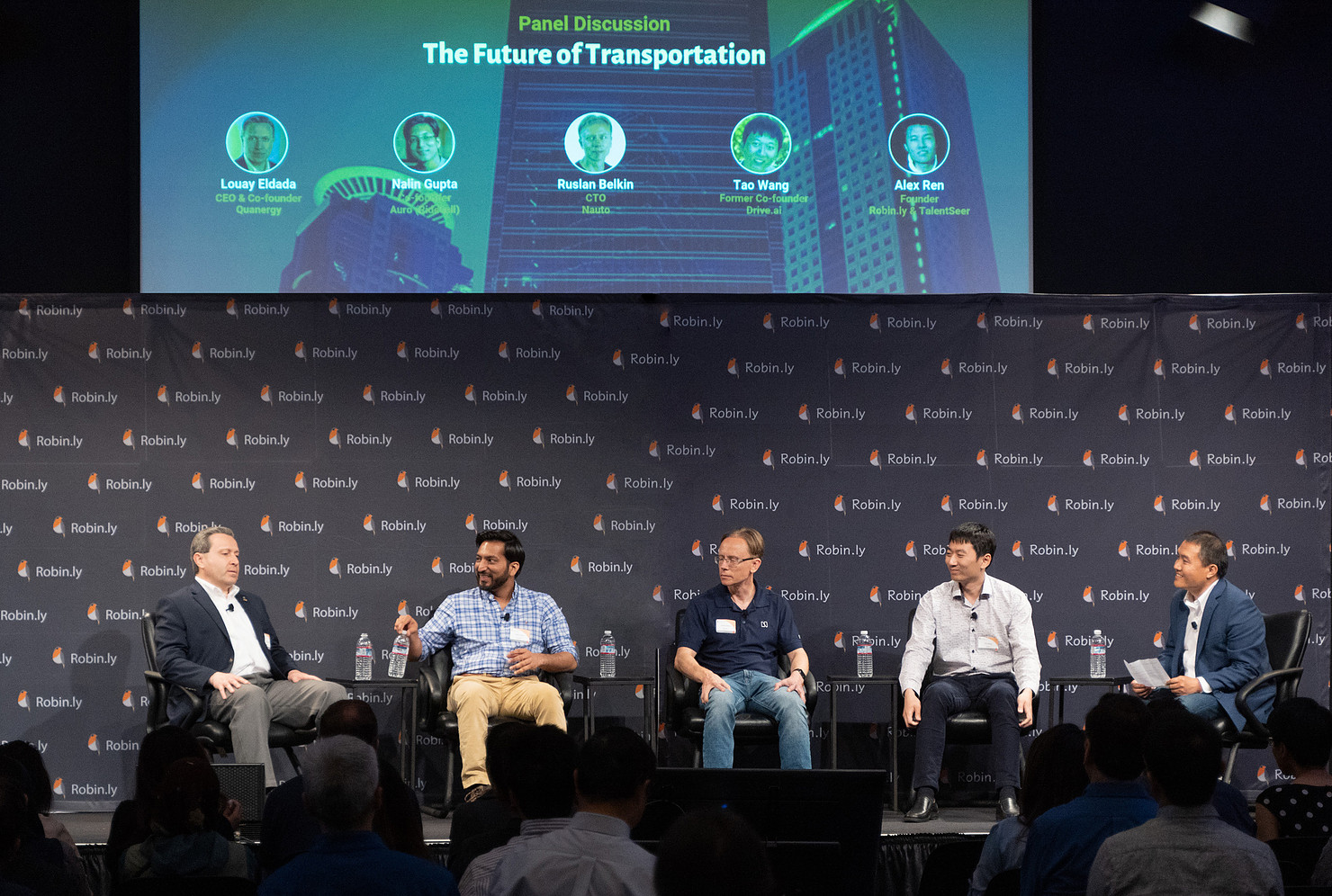 Panel Discussion on The Future of Transportation, Robin.ly AI Commercialization 2019 (Panelist from left to right: Louay Eldada, CEO & Co-Founder @ Quanergy; Nalin Gupta, Co-founder of Autonomous Driving Division (Auro) @ Ridecell; Ruslan Belkin, CTO @ NAUTO; Tao Wang, Former Co-founder @ Drive.ai; Alex Ren, Founder @ Robin.ly & TalentSeer)