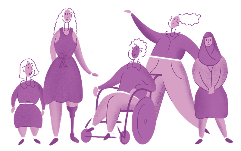 A group of 5 illustrated women with disability