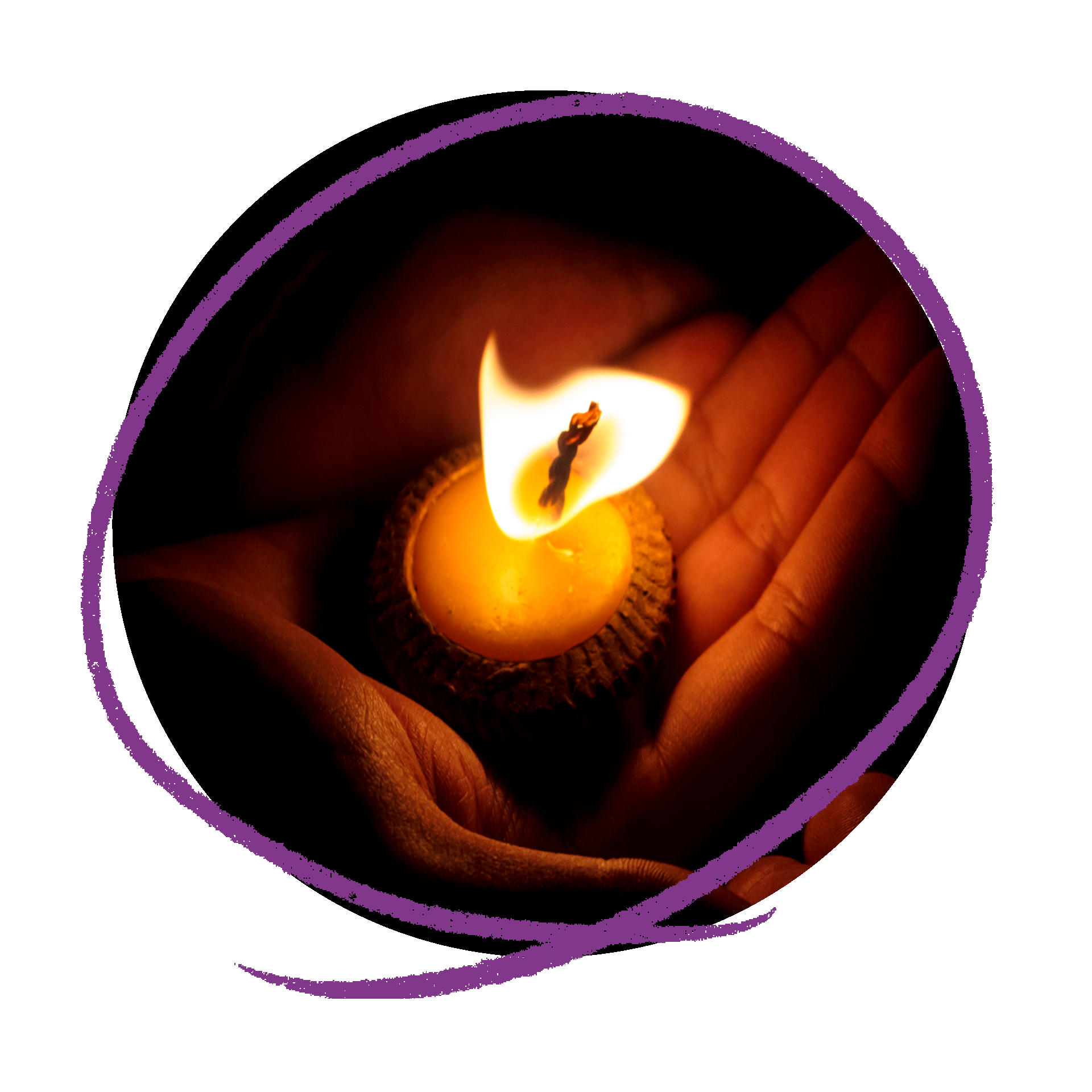 Photo of a someone holding a lit candle in the palm of their hand.