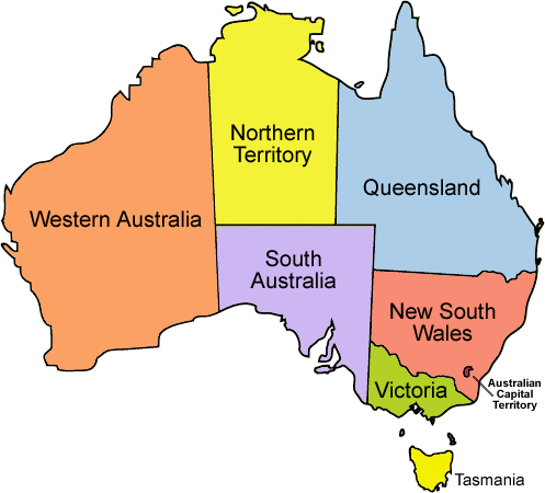 Map of Australia separated by state.