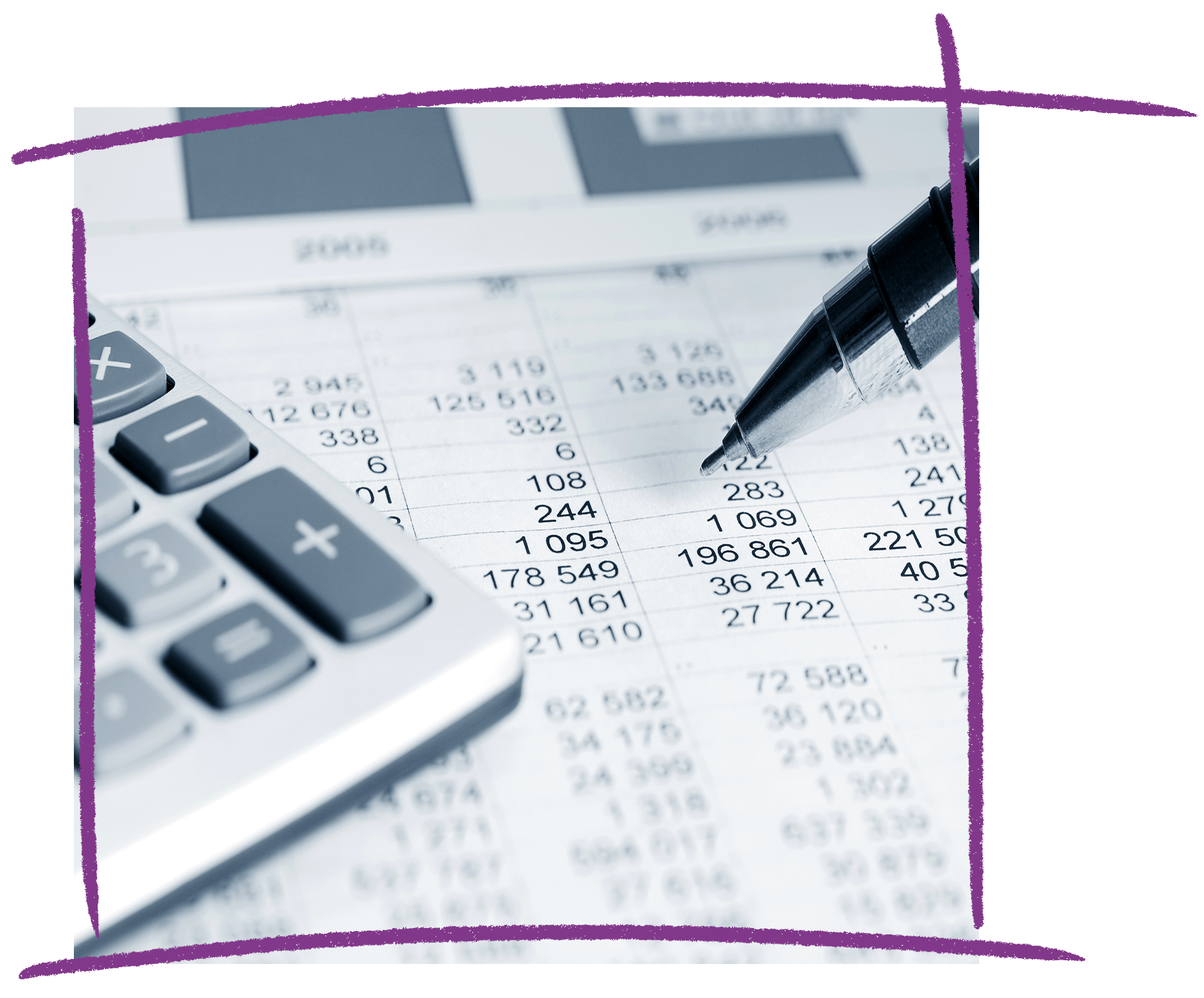 Photo of a pen, spreadsheet and calculator