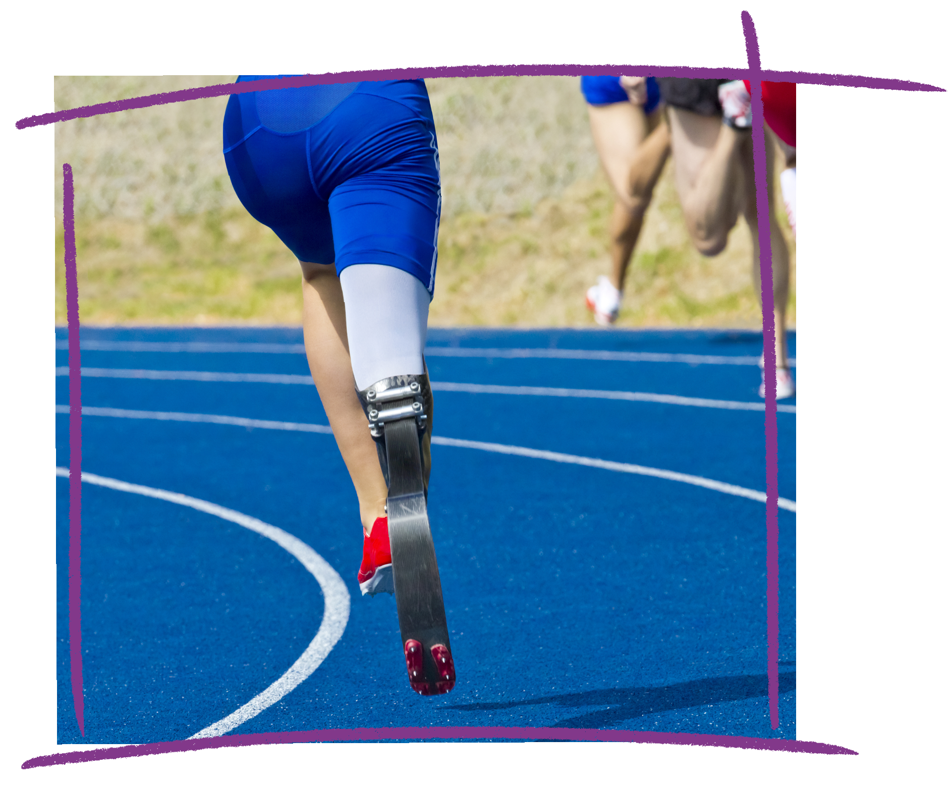 Photo of a person with a prosthetic leg running on a track