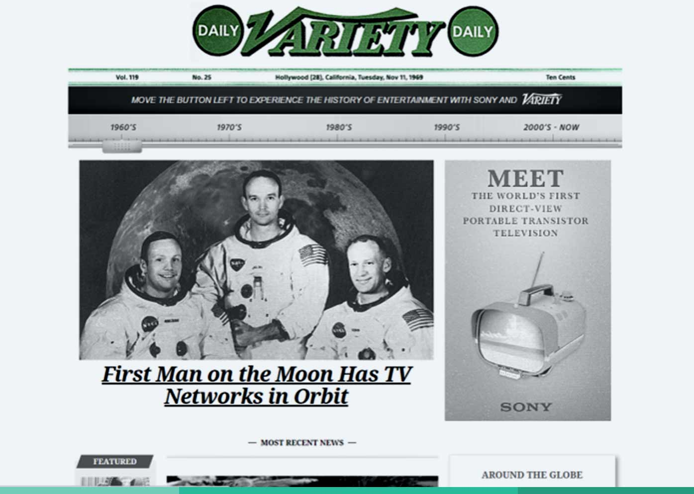 Variety collaborated with Sony and agency Widen+Kennedy on a sponsored homepage takeover