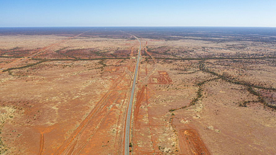 The Stuart Highway from above