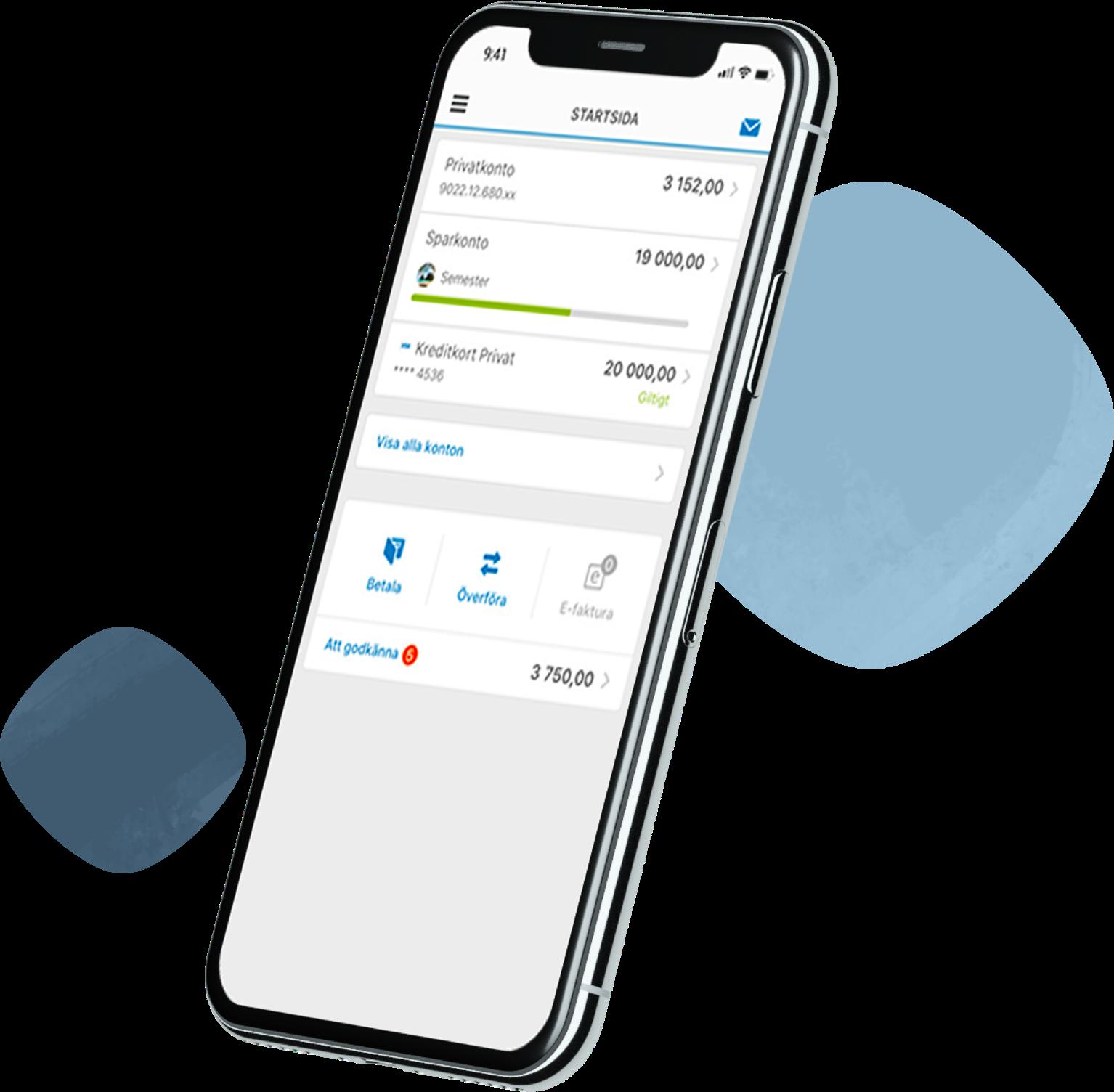 A phone with Länsförsäkringar Bank app displayed on it.