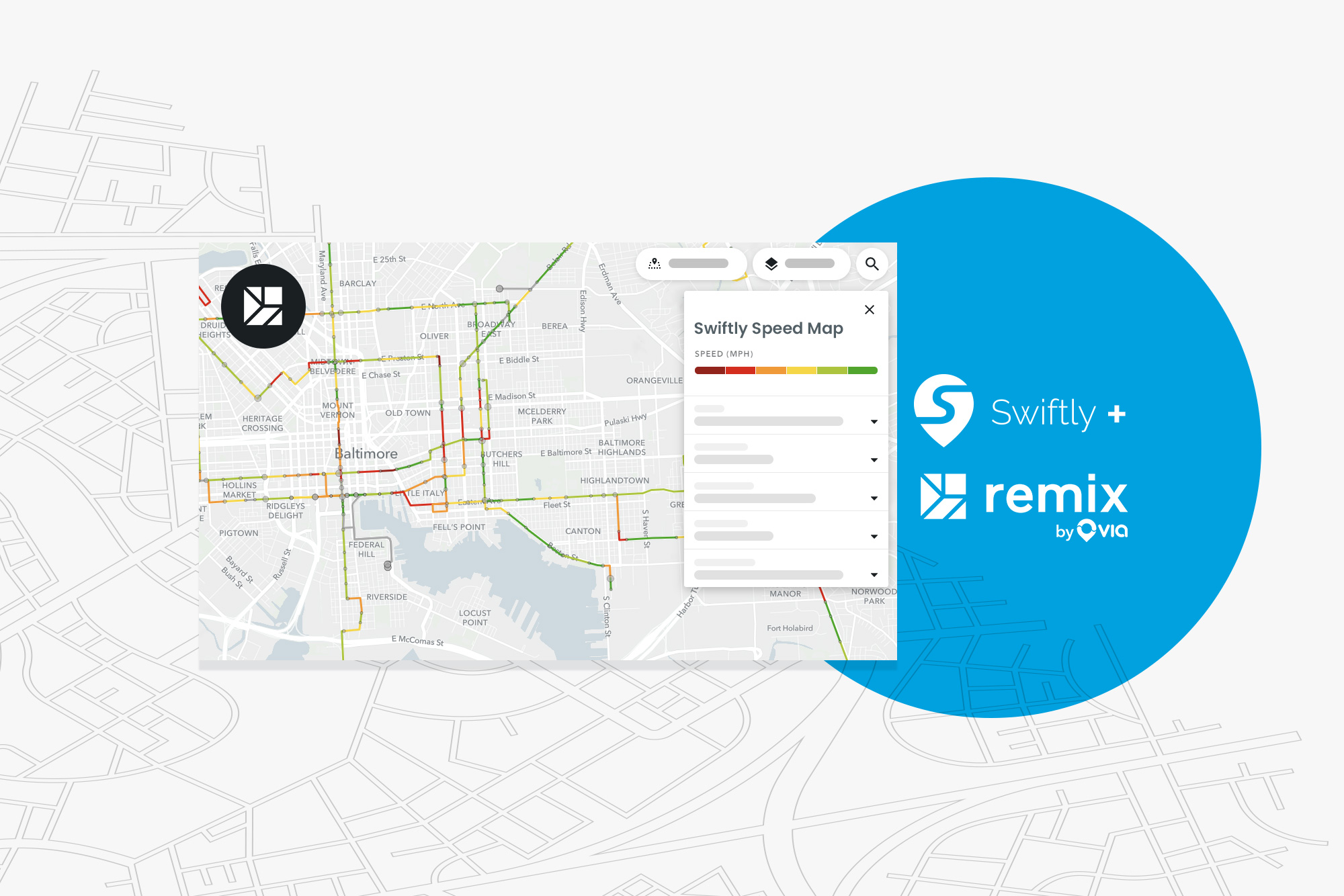 Integração de camadas de dados do mapa de velocidade de lançamento rápido e Remix