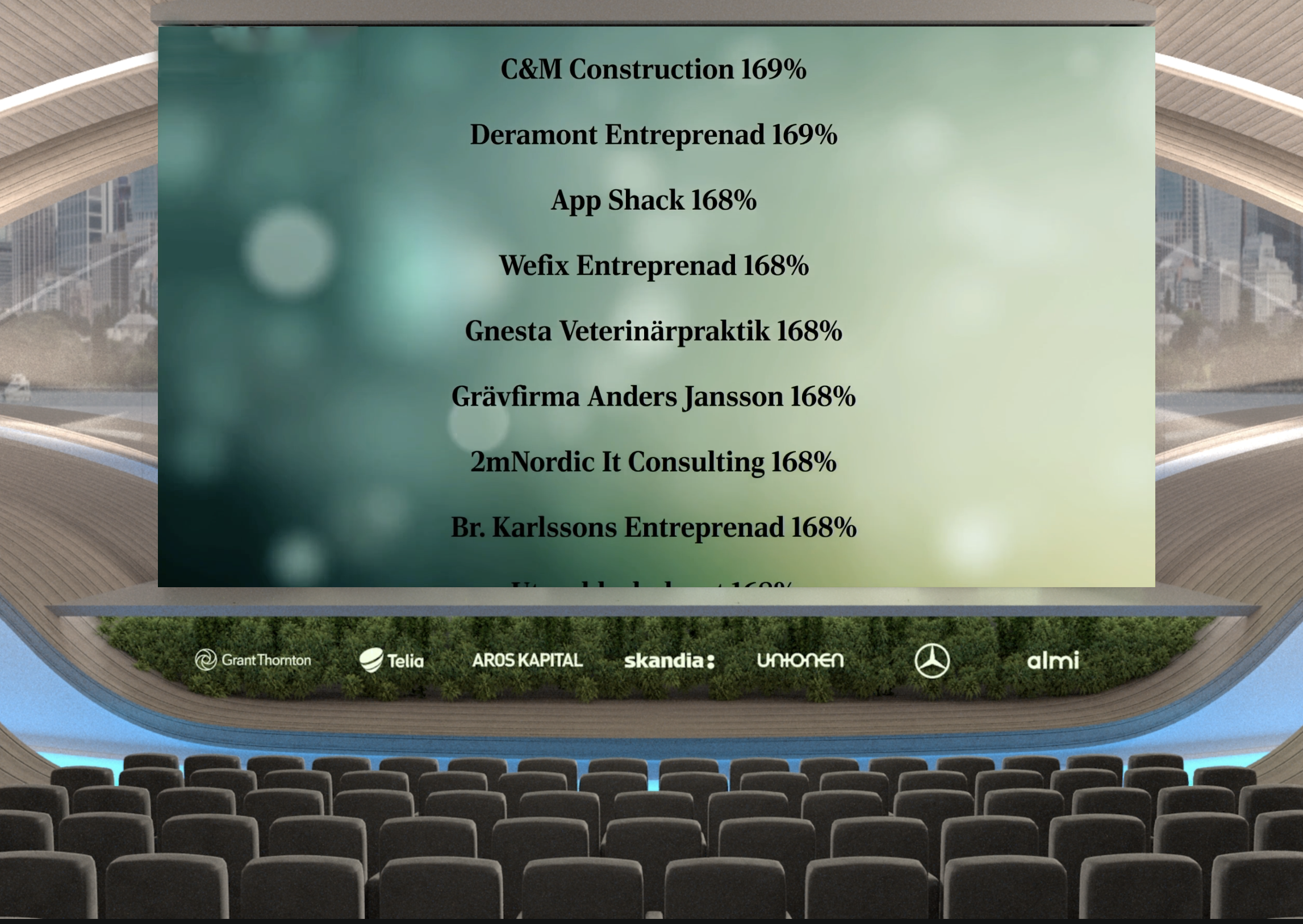 A screenshot of the Di Gasell virtual award ceremony, listing companies on a screen, including App Shack.