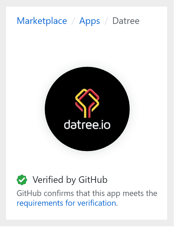 Datree is a verified app on GitHub