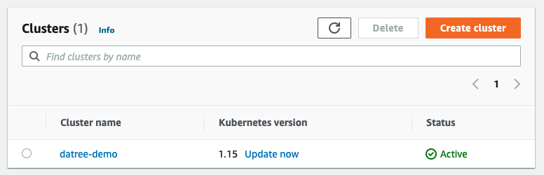 Image showing the 'Update now' link in AWS console
