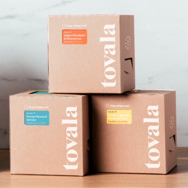Three Tovala meal boxes