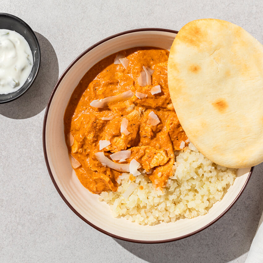 Butter Chicken with Cauli Rice & Naan