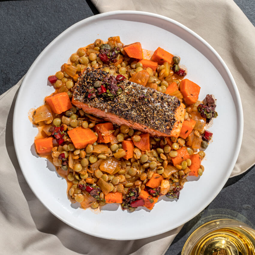 Crispy Skin Garlic Herb Trout with White Wine Braised Lentils & Olive Red Pepper Relish