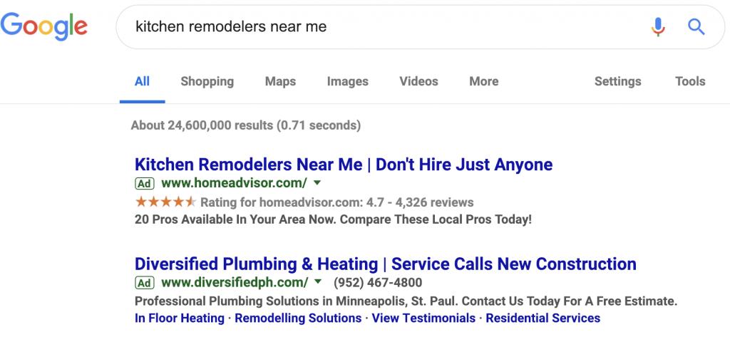 home advisor review google results screenshot