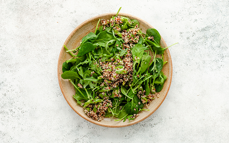 To add texture and fiber to your vegan salad, make sure to add some whole grains of your choosing.