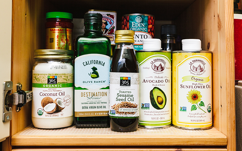 Coconut, avocado, and sunflower oils are some of Thistle's pantry staples.
