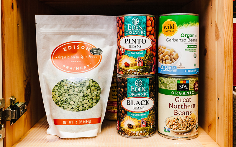 Black Beans, Pinto Beans, Garbanzo Beans, Cannellini Beans as well as lentils are all pantry staples.