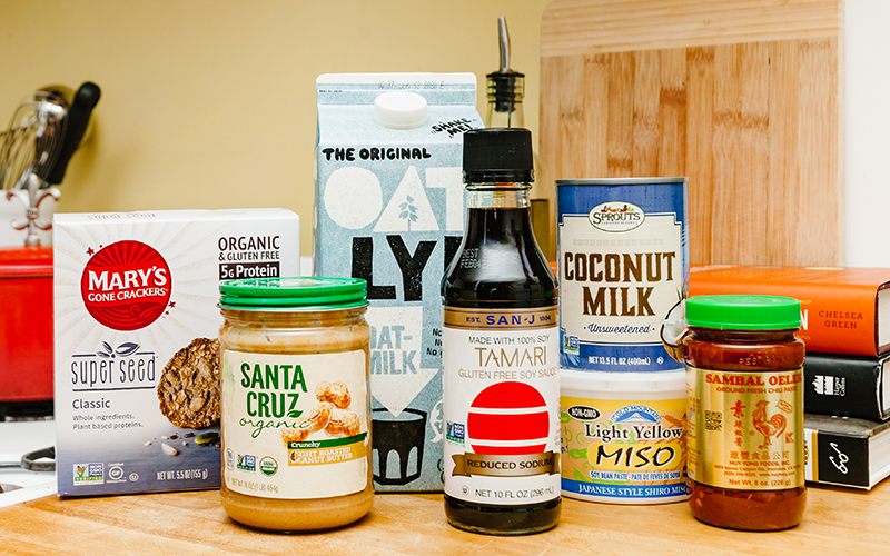 Dairy free milk, condiments, canned goods, and other gluten free snacks are great pantry staples!