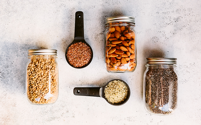Thistle's pantry is always filled with chia seeds, almonds, and other nuts because these are key ingredients in almost all our meals and are absolutely pantry staples.