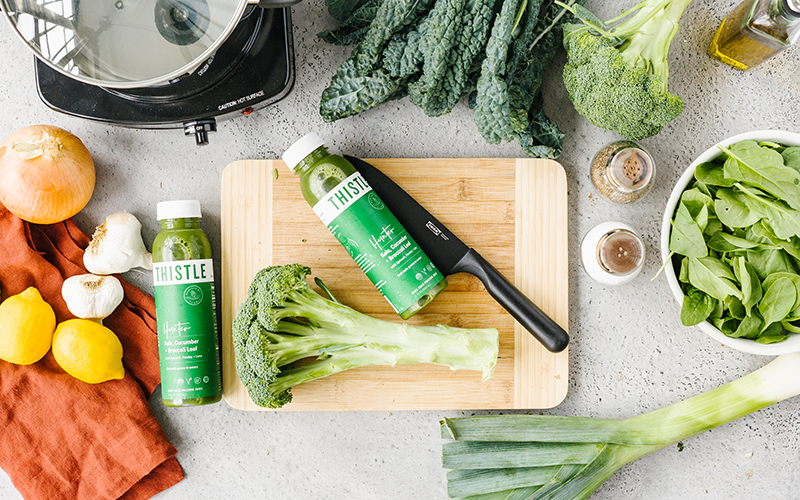 Thistle's cold pressed juice, Hunter, can be used when making vegetable broth!