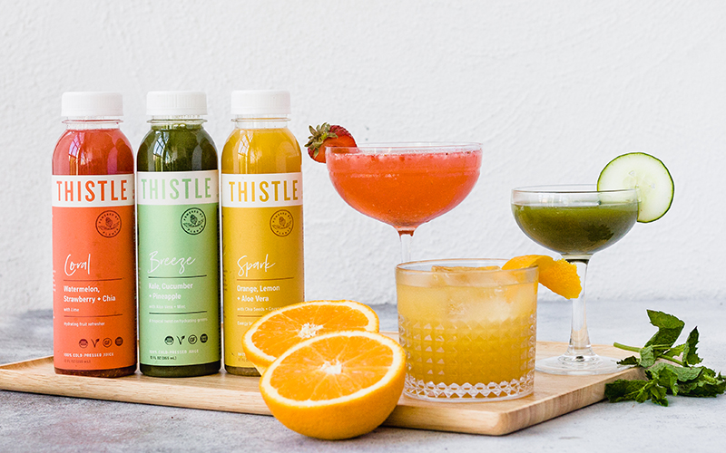 Nothing can beat Thistle's refreshing and flavorful cold pressed juice cocktails.