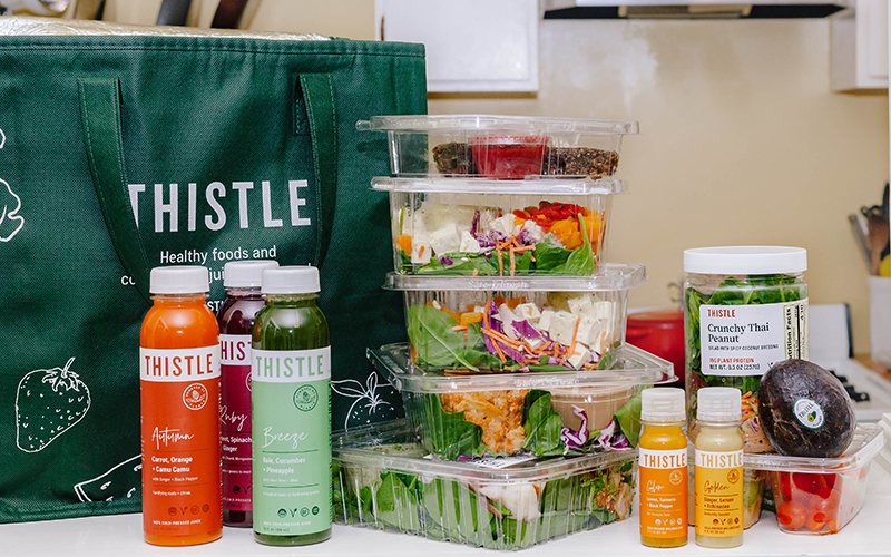 Subscribe to Thistle to receive healthy meals and juices throughout your week!
