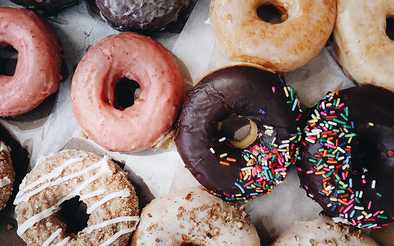 Refined sugar is found in almost every processed food, including donuts.