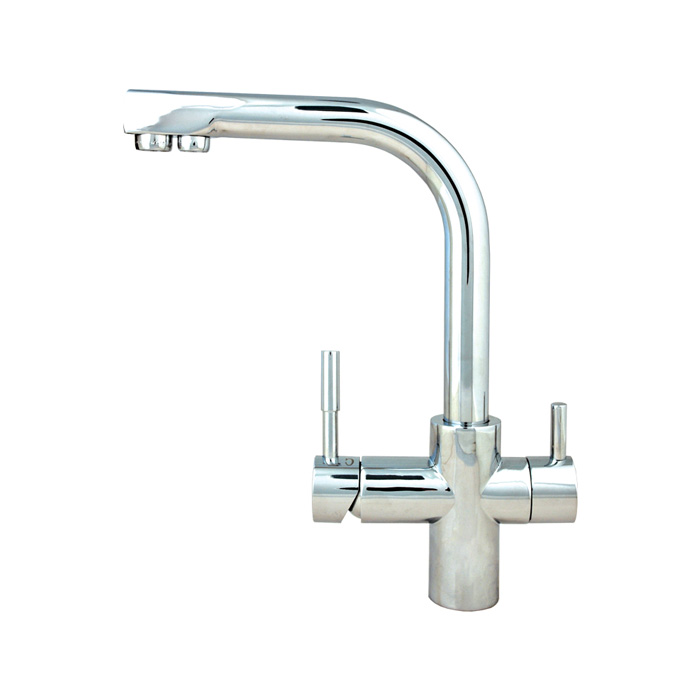 3 Way Mixer Tap Side Lever Polished Chrome