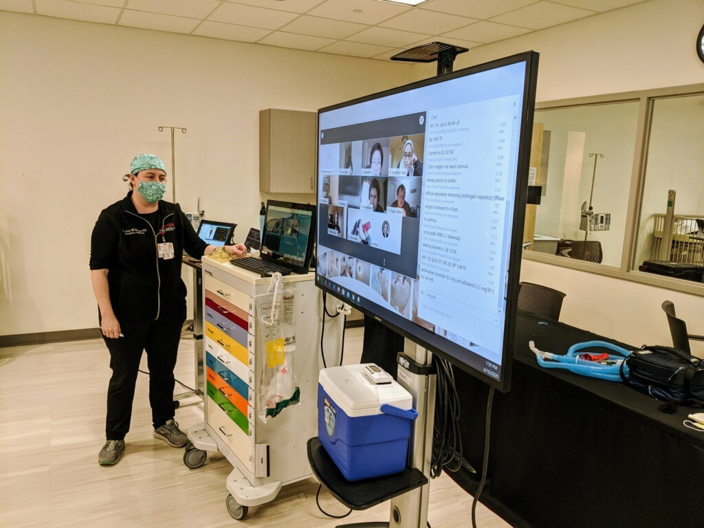 Dr. Colleen Donovan with the Acute Care Simulation Lab virtual class