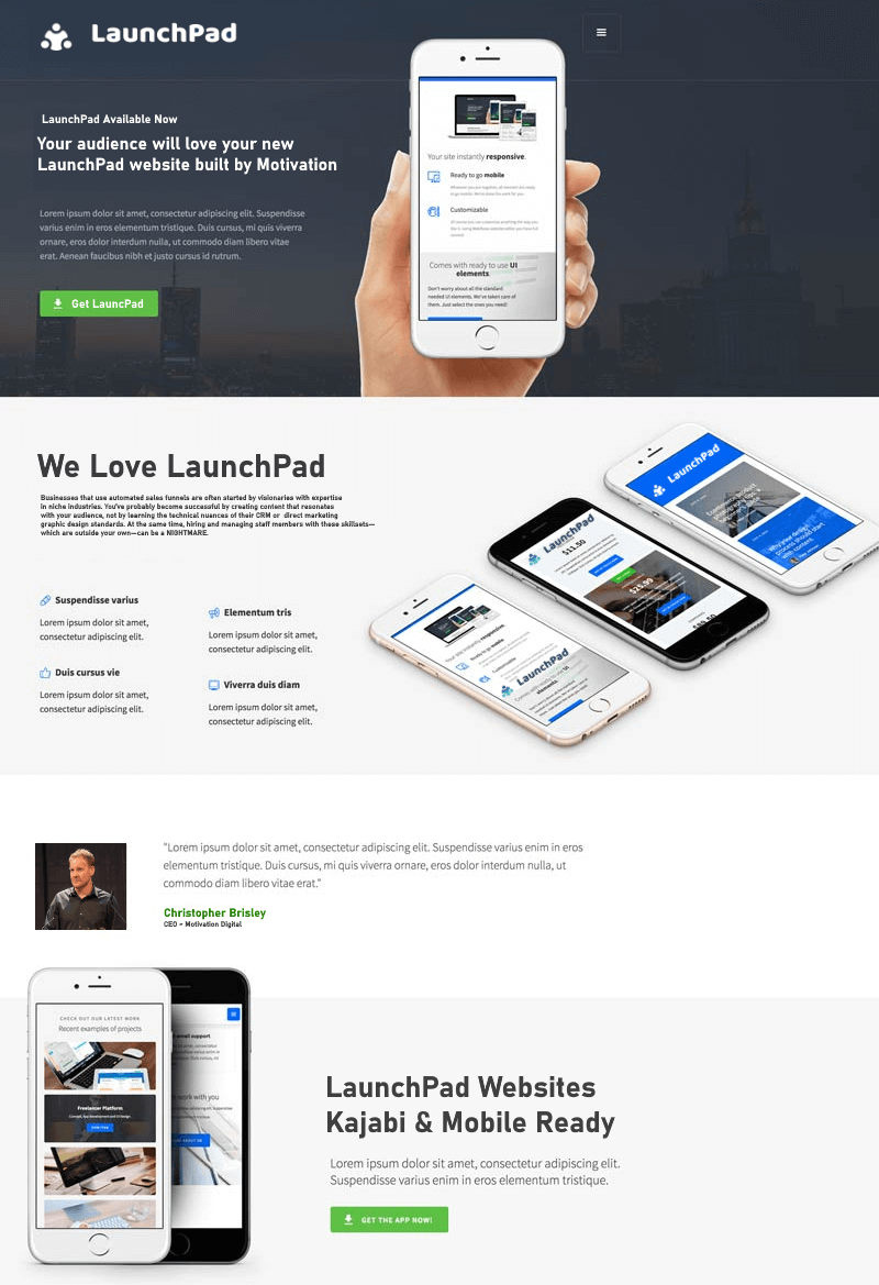 LaunchPad website Template for Kajabi Design and Development Tools by Motivation Digital