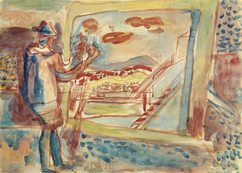 Joseph Zaritsky, Figure of the Artist and a Roof-Top View of Tel Aviv