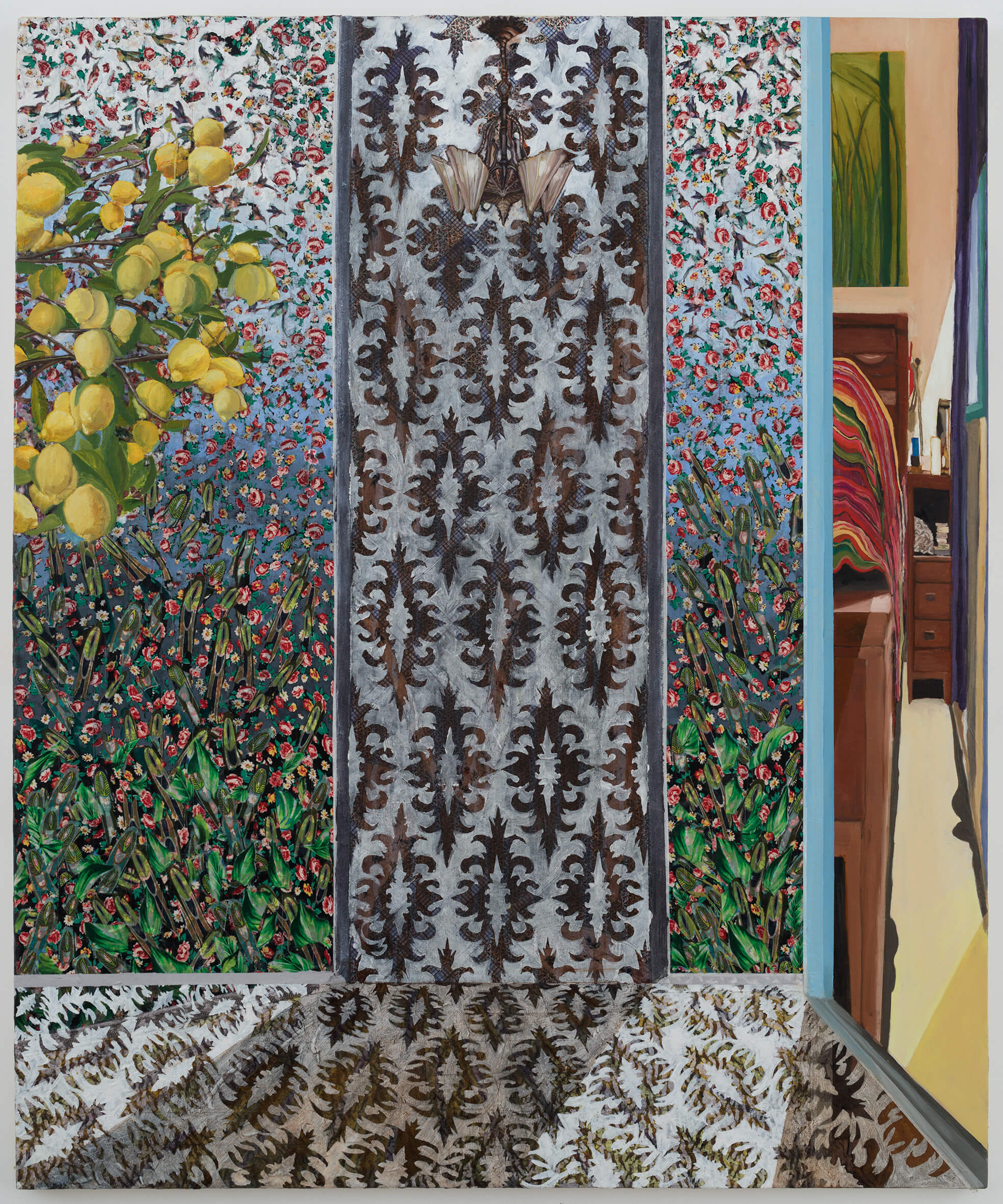 Ella Amitay Sadovsky, Glasshouse Green painting from Berkeley, bed and yellow lemons