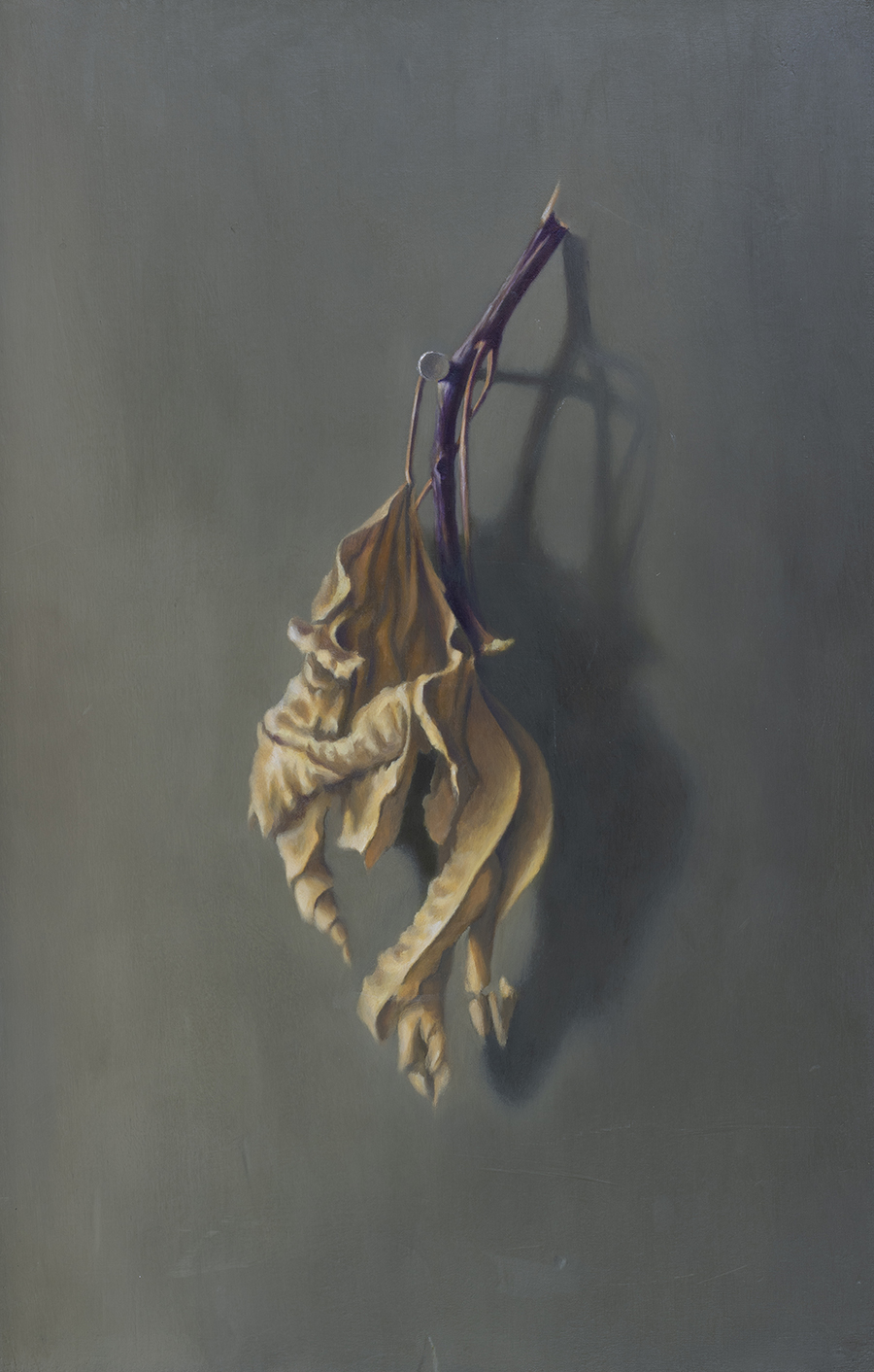Under his Fig, 2016, oil on canvas mounted on wood, 44x28 cm
