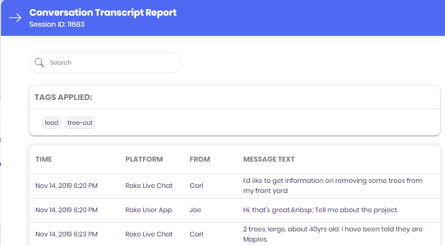 Conversation tags reports