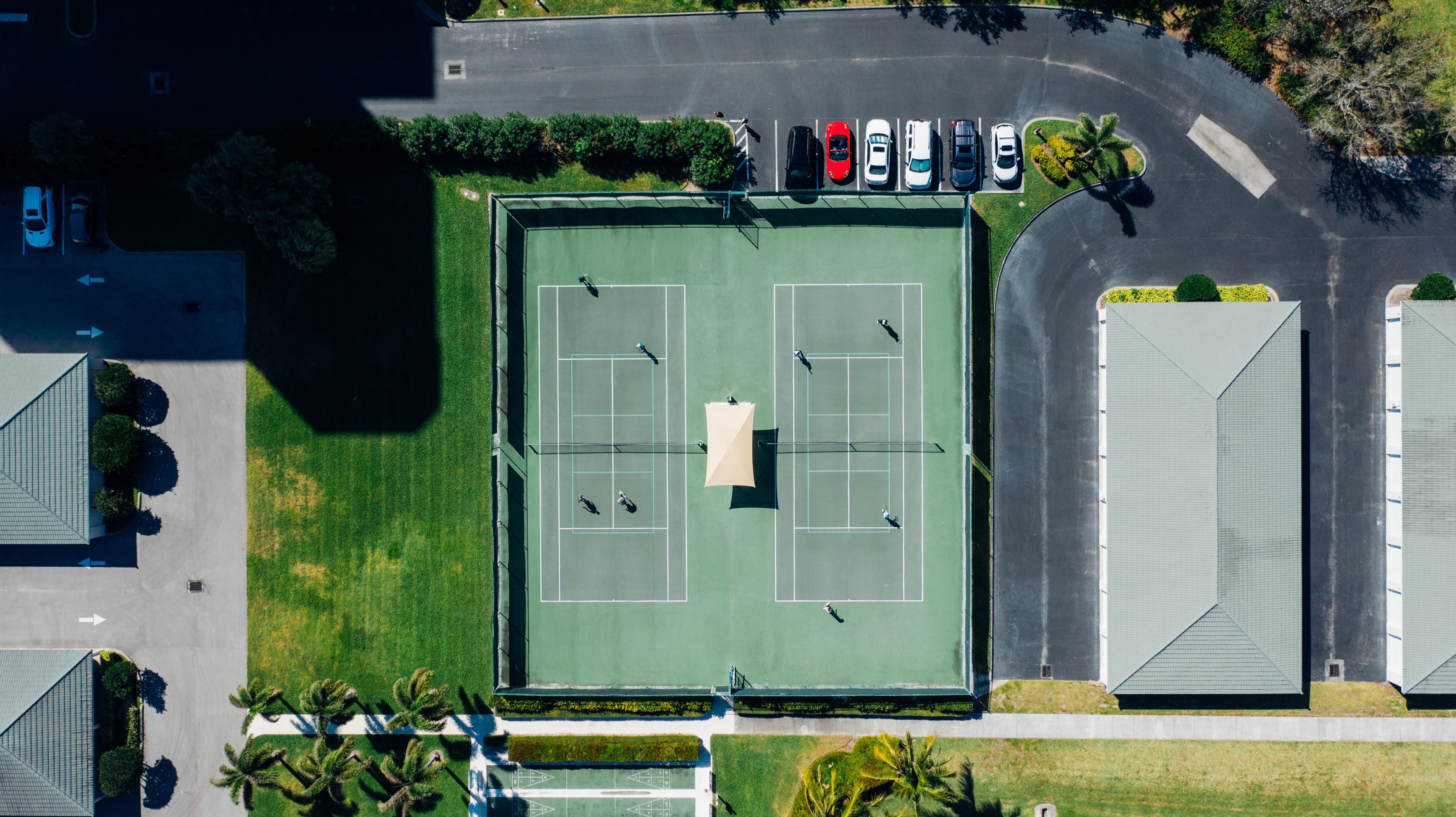 Overhead view of a tennis club