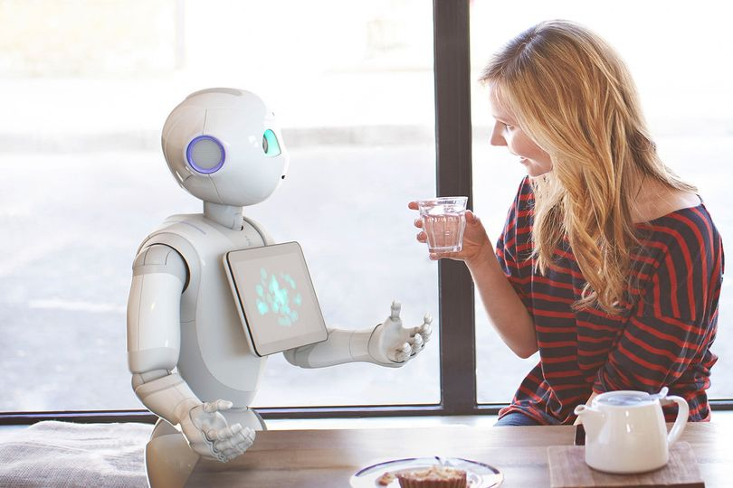 Girl talking with a robot