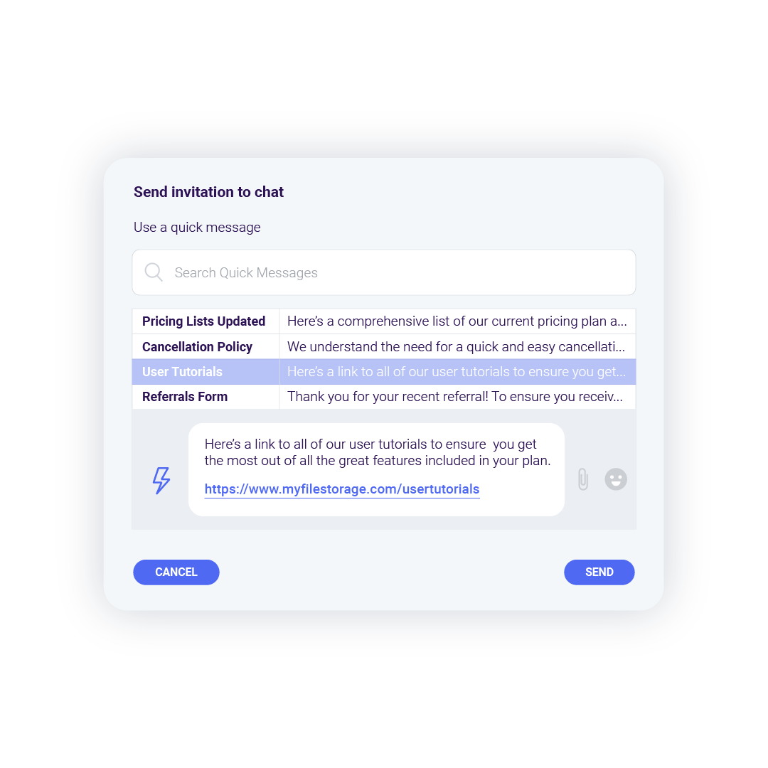 Create and use Quick Messages with Rake chat and messaging technology