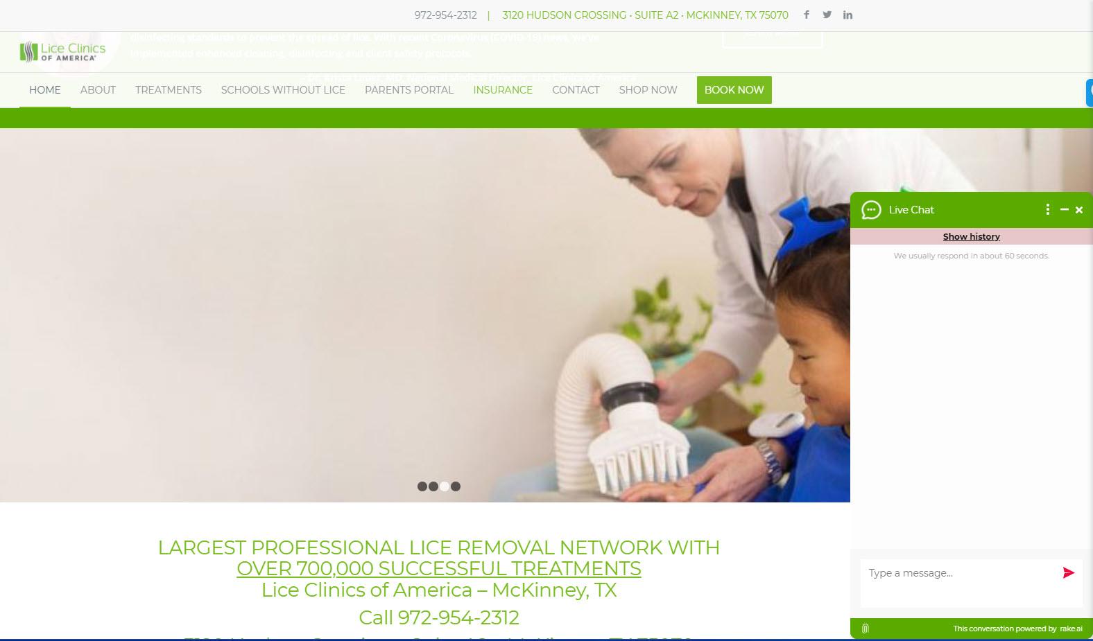 Open chat widget on Lice Clinics McKinney TX website