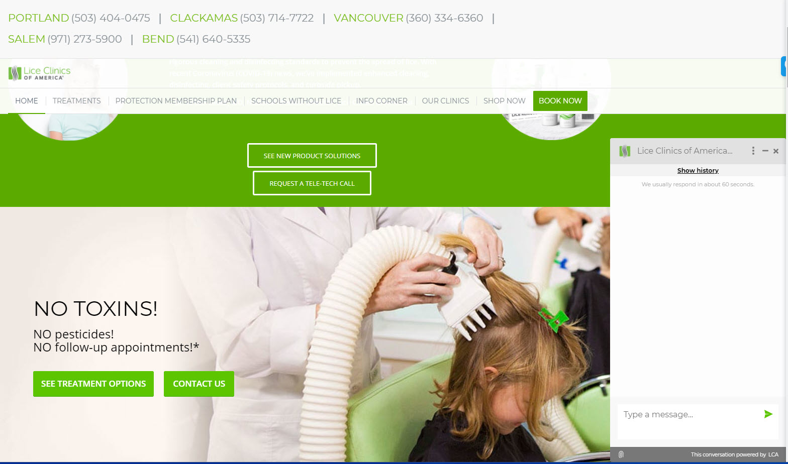 Expanded Rake chat widget on Lice Clinic of America Oregon locations website