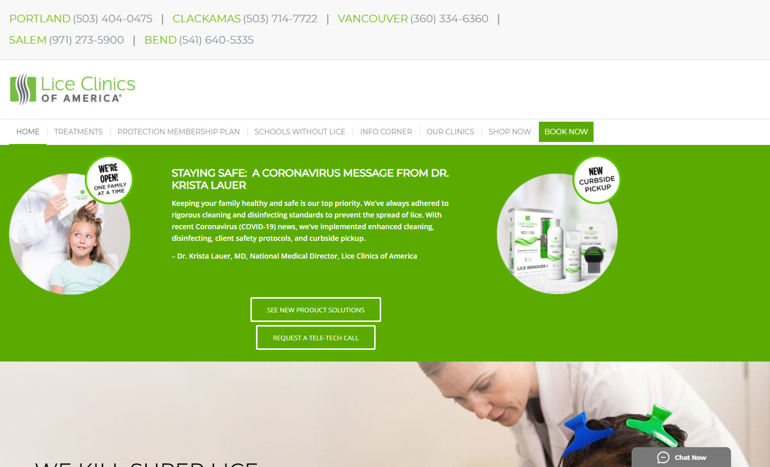 Tab style of the Rake chat widget on the Lice Clinics of America Oregon locations website